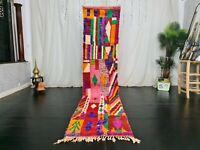 Handmade Moroccan Boujad Vintage Runner Rug 2.4x11 Colorful Berber Patchwork Rug