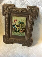 ANTIQUE DRESDEN PAPER CHILDREN FEEDING BIRDS-PIGEONS PICTURE CHRISTMAS ORNAMENT