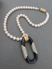 Vintage Art Deco Faux Pearl Enamel Paste Pendant Choker Necklace