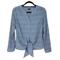 Talbots Long Sleeve Button Down V-Neck Shirt Top Small Women's