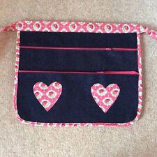 Boot Craft Fair Money Belt Cash Bag Market Trader  Denim Pink  Rose Hearts