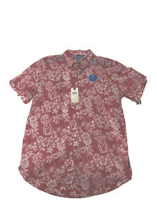 Izod Shirt Hibiscus Button Up Claret Red Looks Pink Mens Large Saltwater