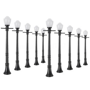 LCX04 10pcs Model Railway Lamppost lamps Street Lights O Scale LEDs NEW q
