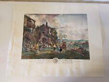 """Antique """"La Botique Du Marechal"""" Hand Colored Engraving Wouwerman Phillips 1756"""