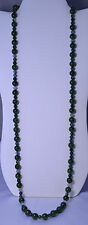 VINTAGE GENUINE JADE & MOSS AGATE BEAD NECKLACE 37.5 INCHES LONG