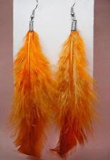 F1628 light dangle chandelier hook orange natural feather earrings