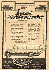 1920 Old Original Vintage BESWICK Char-a-banc BUS Motor Body Auto Art Print AD