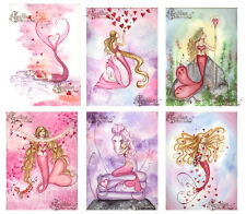 VALENTINES 2 MERMAID NOTE CARDS from Original Watercolors by Grimshaw
