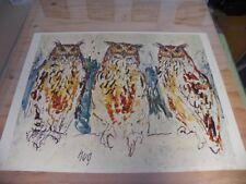 "Vintage Poster  ""Hug Owls"", Art Reproduction Co., Inc 23 x 30"