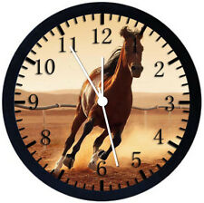 Beautiful Horse Black Frame Wall Clock Nice For Decor or Gifts E360
