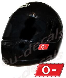 Helmet 0- Blood Type Warning Unscratchable 3D Decal Car Bike GoKart sticker safe
