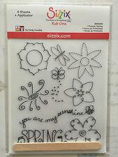 NEW Sizzix Rub Ons - Flowers, Spring - 655082 - 2x sheets of White, 2x black