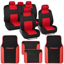 Red/Black Car Interior Set Split Bench Seat Covers 2 Tone Floor Mats