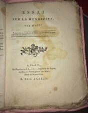 MENDICITÉ. RARE Essai sur la mendicité, par M. C***.1789