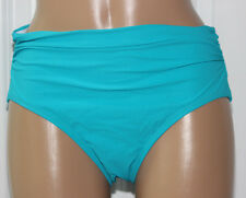 NEW Profile by Gottex Peacock Solid Ruched High WaistSwim Bikini Bottom size 12