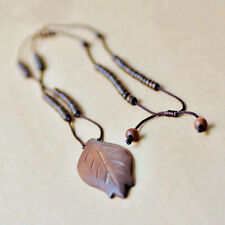 Vintage Womens Wood Pendant Leaf Long Rope Chain Sweater Necklace Jewelry SE