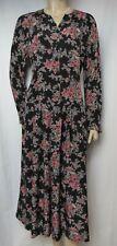 Laura Ashley Kleid 40 42 schwarz rosa grau Blumen Rosen vintage langarm