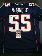 Willie McGinest New England Patriots Autographed Inscrib Blue Style Jersey JSA=+
