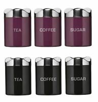 Enamel Tea Coffee & Sugar Canister Kitchen Storage Jars Multi Colours