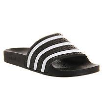 Womens Adidas Adilette Sliders Black White Flats