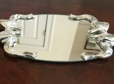 Unique Vanity Mirror Tray with Ribbon Decor