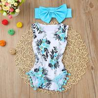 Newborn Infant Kids Baby Girl Print Romper Jumpsuit Sunsuit+Headband Clothes Set