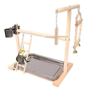 Wood Parrot Ladder Swing Play Stand Perch Playground Pet Cockatiel Playpen Toy