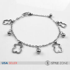 Women Girl Stainless Steel Animal Bear Bead Ball Charm o Link Chain Bracelet B86