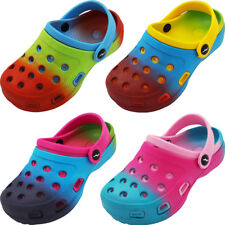 Norty Toddler & Girls Tie Dye Clog Sandal with Backstrap - 4 Color Combinations