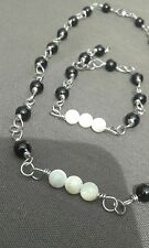 Handmade Silver Wire Wrapped Linked Set with Black Onyx and Mother of Pearl