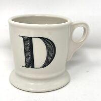 """Anthropologie Monogram """"D"""" Alphabet Mug Shaving Style Cup White Black Letter"""