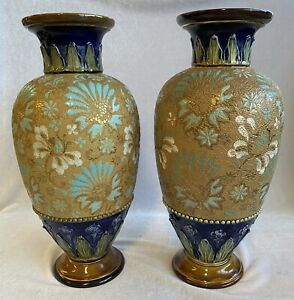 Rare Antique Royal Doulton Slater's Studio Pottery Stoneware Chine Vases c1902