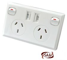 Double Power Point Australian with Dual USB port