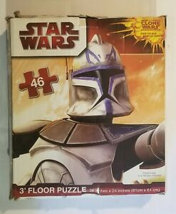 STAR WARS THE CLONE WARS 3' LARGE FLOOR JIGSAW PUZZLE 46 PIECES Used