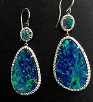 Trendy 925 Silver Opal Women Jewelry Dangle Party Anniversary Drop Earrings