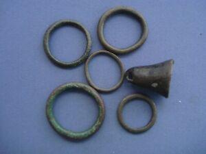 Celtic Bronze Money - 6 pcs. - 5 Rings & 1 Bell - 0539