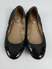 Me Too Womens Ballet Flats Black Patent Leather Suede Shoes Size 7 M