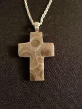 Michigan Petoskey Stone Necklace - Cross