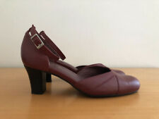 WOMEN'S KUMFS MAROON RED LEATHER ANKLE STRAP HEEL SHOES - SIZE 37