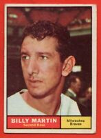1961 Topps #89 Billy Martin VG+ WRINKLE Milwaukee Braves FREE SHIPPING