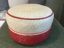 Mid-Century Vintage Retro 1950's/ 60's Straw Filled Pouffe Foot Stool  Red Grey