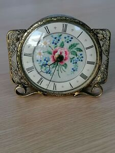 Vintage Dressing Table Petit Point Embroidered Vanity Clock.