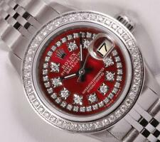 Rolex Lady Datejust 26mm Stainless Steel-Red String Diamond Dial-Diamond Bezel