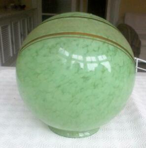 VINTAGE ART DECO MARBLED GREEN GLASS ROUND LIGHT SHADE WITH GOLD RIBBON