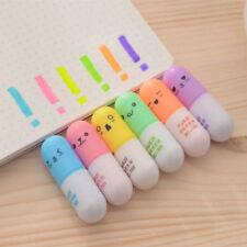 6PCS Pill Shaped Highlighter Mini Pens Smile Face Graffiti Marker Pen Stationery