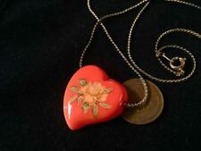 Vintage Shabby Chic Decaled Floral Rose Glass Heart Necklace Pendant Japan