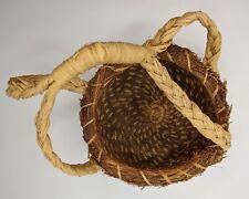 Vintage Handmade Pine Needle Braided Woven Primitive Basket With Handle
