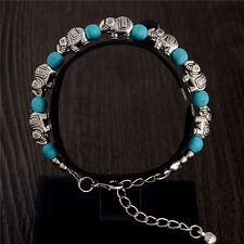 Nuevo Plata Tibetana Azul Turquesa Elefante pulsera con dijes Brazalete Joyas Regalo