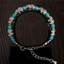 New Tibetan Silver Turquoise Elephant Blue Charm Bracelet Bangle Jewellery Gift