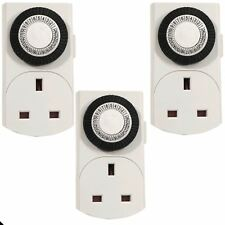 3X 24hr Spina in Timer Interruttore Luci Time Clock UK 3 pin Socket